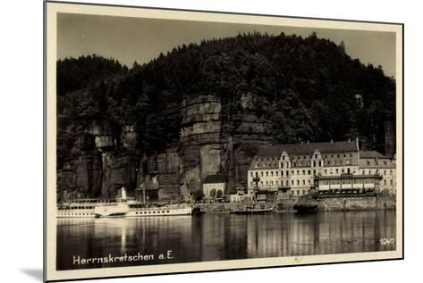 Herrnskretschen Elbe Region Aussig, Hotel, Dampfer Dresden--Mounted Giclee Print