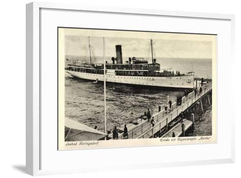 Heringsdorf, Braeunlich Stettin, Dampfschiff Hertha--Framed Art Print