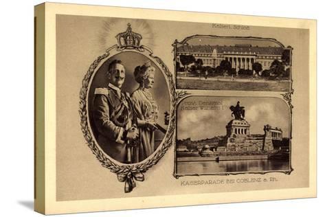 Passepartout Koblenz, Kaiserparade, Schloss--Stretched Canvas Print