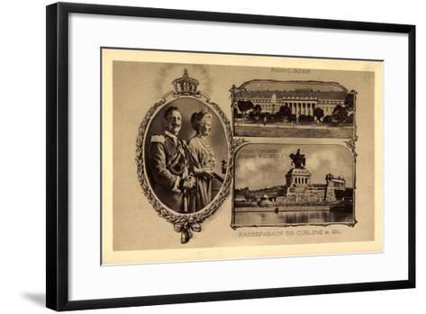Passepartout Koblenz, Kaiserparade, Schloss--Framed Art Print