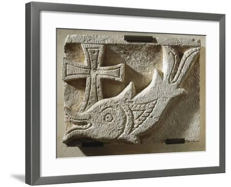 Relief Depicting a Fish and a Cross--Framed Art Print