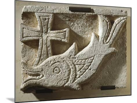 Relief Depicting a Fish and a Cross--Mounted Giclee Print
