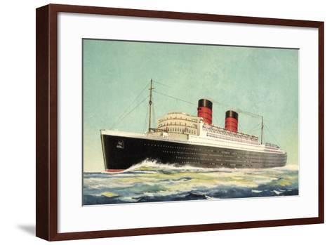 K?nstler Cunard White Star, Steamer Mauretania--Framed Art Print