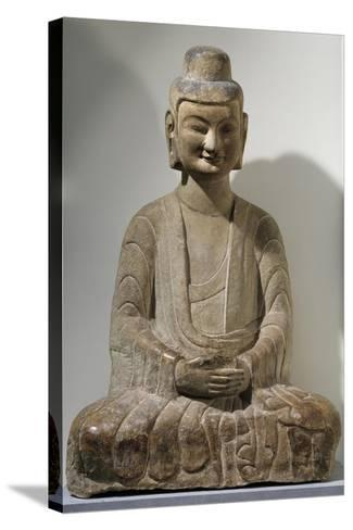 Buddha Sitting in Meditation, Grey Limestone Statue from Gongxian Caves--Stretched Canvas Print