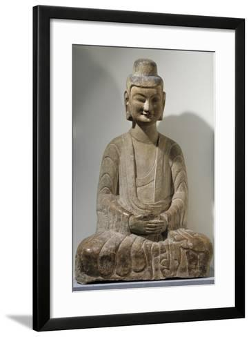 Buddha Sitting in Meditation, Grey Limestone Statue from Gongxian Caves--Framed Art Print