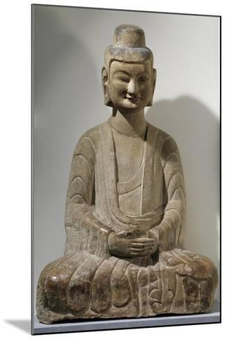 Buddha Sitting in Meditation, Grey Limestone Statue from Gongxian Caves--Mounted Giclee Print