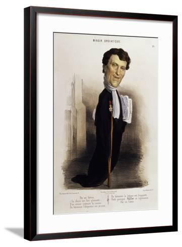Caricature of Lawyer Paillet, Marie Capelle Lafarge's Defender, Circa 1845--Framed Art Print