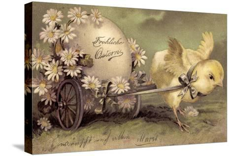 Glückwunsch Ostern, Küken Mit Osterei, Gänseblümchen--Stretched Canvas Print