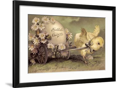 Glückwunsch Ostern, Küken Mit Osterei, Gänseblümchen--Framed Art Print