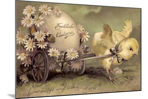 Glückwunsch Ostern, Küken Mit Osterei, Gänseblümchen--Mounted Giclee Print