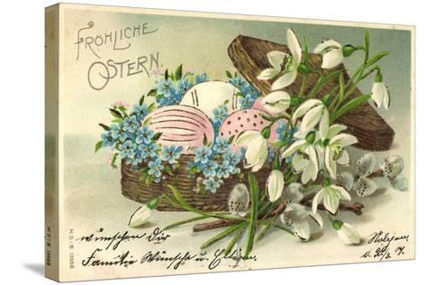 Präge Frohe Ostern, Ostereier Im Korb, Blumen--Stretched Canvas Print
