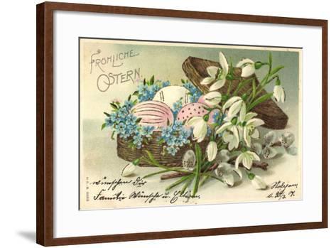 Präge Frohe Ostern, Ostereier Im Korb, Blumen--Framed Art Print
