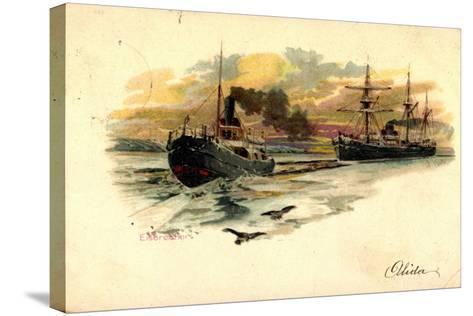 K?nstler Litho Nath, F., Eisbrecher Mit Begleitschiff--Stretched Canvas Print