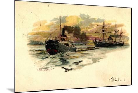 K?nstler Litho Nath, F., Eisbrecher Mit Begleitschiff--Mounted Giclee Print