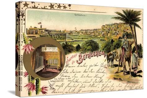 Litho Bethlehem Israel, Kaiserreise 1898, Kamele, Ort--Stretched Canvas Print
