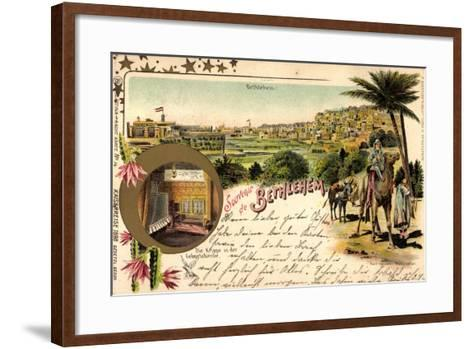 Litho Bethlehem Israel, Kaiserreise 1898, Kamele, Ort--Framed Art Print
