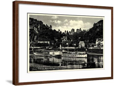 Kurtort Rathen, Dampfschiff Leipzig, Rosengarten--Framed Art Print