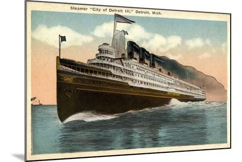 Steamer City of Detroit Iii, Detroit Michigan--Mounted Giclee Print