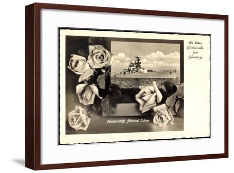 Gl?ckwunsch Geburtstag, Panzerschiff Admiral Scheer--Framed Art Print