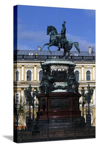 Russia, Saint Petersburg, Historic Centre, Monument to Nicholas I on Saint Isaac's Square--Stretched Canvas Print