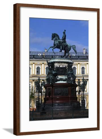 Russia, Saint Petersburg, Historic Centre, Monument to Nicholas I on Saint Isaac's Square--Framed Art Print