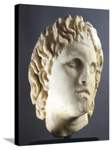 Head of Alexander Sculpture from Pella, Greece BC--Stretched Canvas Print