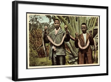 Matlala Südafrika, Gefährliche Jagdbeute, Einheimische Erlegen Boa Constrictor--Framed Art Print