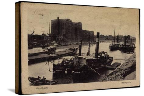 Mannheim, Blick Auf Den Hafen, Dampfer, Uferansicht--Stretched Canvas Print