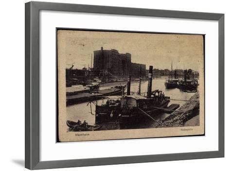 Mannheim, Blick Auf Den Hafen, Dampfer, Uferansicht--Framed Art Print