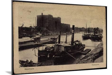 Mannheim, Blick Auf Den Hafen, Dampfer, Uferansicht--Mounted Giclee Print