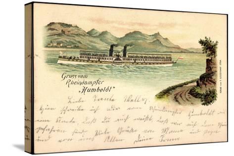 Litho Rheindampfer Humboldt, Binnenschiff Auf Dem Rhein--Stretched Canvas Print