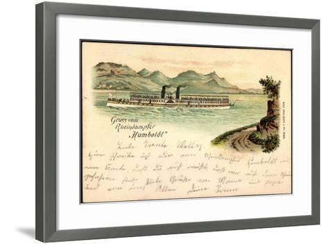 Litho Rheindampfer Humboldt, Binnenschiff Auf Dem Rhein--Framed Art Print