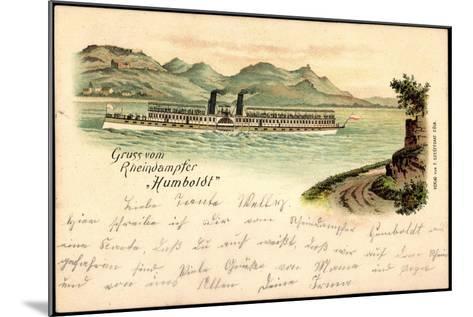 Litho Rheindampfer Humboldt, Binnenschiff Auf Dem Rhein--Mounted Giclee Print