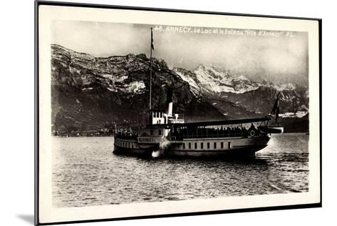 Lac D'Annecy, Bateau Ville D'Annecy, Dampfer--Mounted Giclee Print