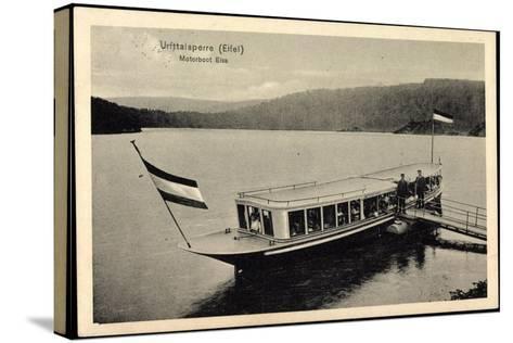 Urfttalsperre Eifel, Motorboot Elsa, F?hre, Steg--Stretched Canvas Print