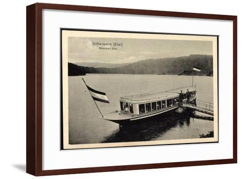 Urfttalsperre Eifel, Motorboot Elsa, F?hre, Steg--Framed Art Print