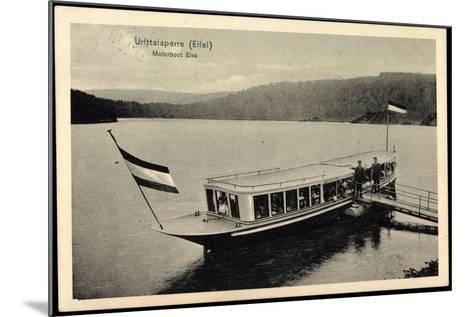 Urfttalsperre Eifel, Motorboot Elsa, F?hre, Steg--Mounted Giclee Print