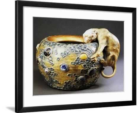 Art Nouveau Style Cachepot with Decoration of Feline--Framed Art Print