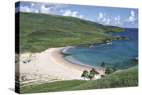Chile, Easter Island, Rapa-Nui National Park, Beach at Anakena Bay--Stretched Canvas Print
