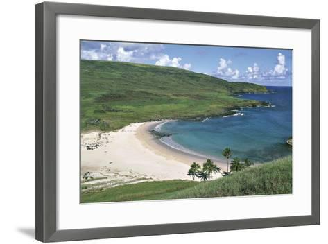 Chile, Easter Island, Rapa-Nui National Park, Beach at Anakena Bay--Framed Art Print