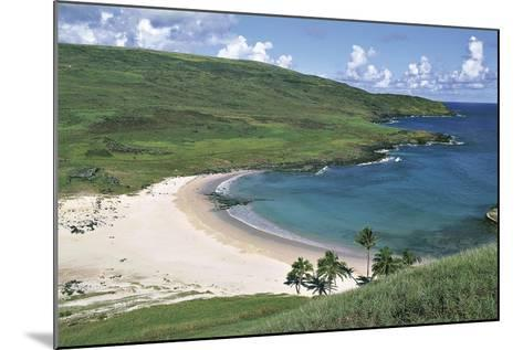 Chile, Easter Island, Rapa-Nui National Park, Beach at Anakena Bay--Mounted Giclee Print