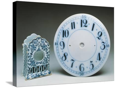 Delftware Table Clock Holder, Ca 1770, and Delftware Clock Dial, Ca 1800, Ceramic, England--Stretched Canvas Print
