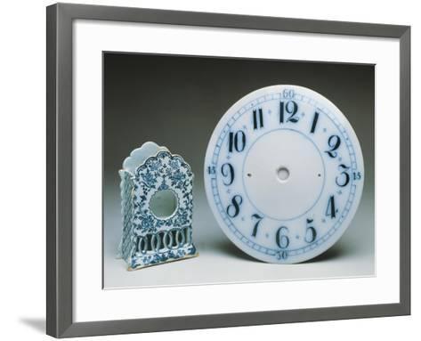 Delftware Table Clock Holder, Ca 1770, and Delftware Clock Dial, Ca 1800, Ceramic, England--Framed Art Print