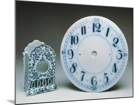 Delftware Table Clock Holder, Ca 1770, and Delftware Clock Dial, Ca 1800, Ceramic, England--Mounted Giclee Print