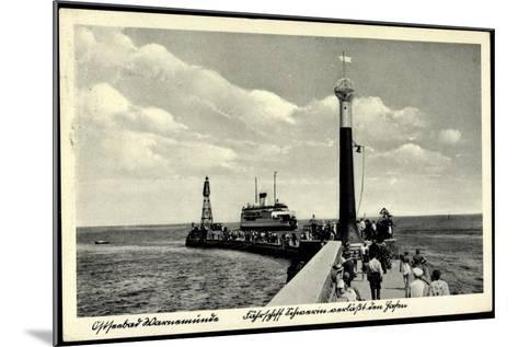 Rostock Warnemünde, Fährschiff, Leuchtturm, Hafen--Mounted Giclee Print