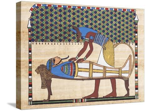 Papyrus Depicting Embalming Ceremony, Reconstruction of Mural Painting from Theban Tomb--Stretched Canvas Print