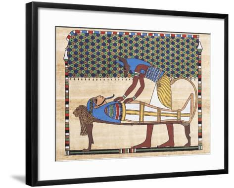 Papyrus Depicting Embalming Ceremony, Reconstruction of Mural Painting from Theban Tomb--Framed Art Print