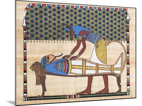 Papyrus Depicting Embalming Ceremony, Reconstruction of Mural Painting from Theban Tomb--Mounted Giclee Print
