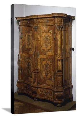 Baroque-Rococo Style Wardrobe with Walnut, Maple and Rosewood Veneer Finish, Austria--Stretched Canvas Print