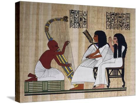 Egyptian Papyrus Depicting Husband and Wife at Blind Harpist Performance--Stretched Canvas Print